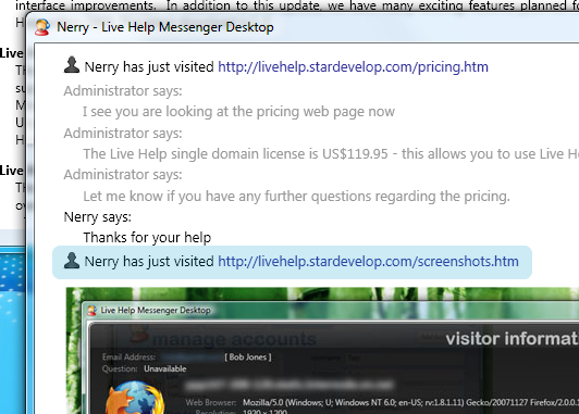 Live Help Guest Chat Window - Visitor Alerts