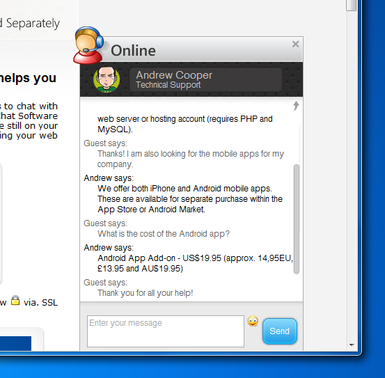 Live Help Embedded Chat Window