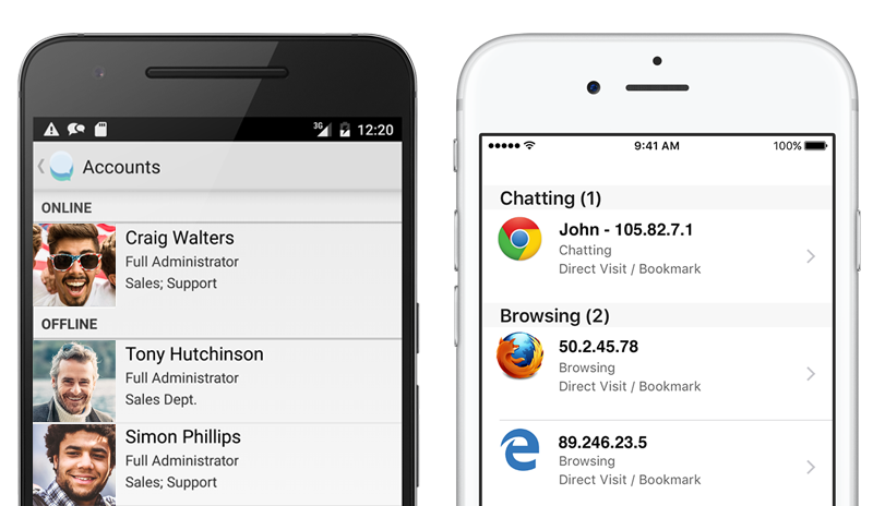 Live chat from your iPhone and Android device