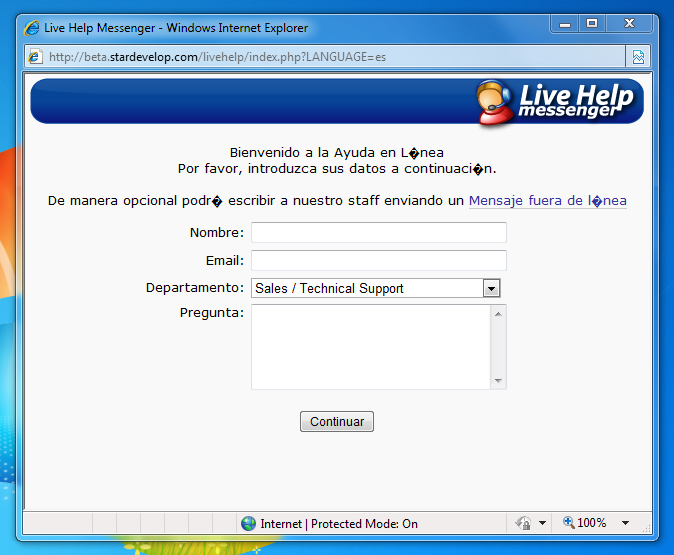 Live Chat Window - UTF-8 Language Character Issue