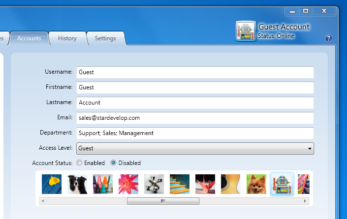 Guest Account - Easily Enter Assign a Department to the Account